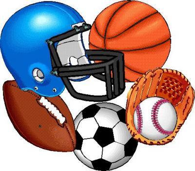 Basketball, Football Helmet, Baseball Glove and Ball, Soccer Ball, and Football